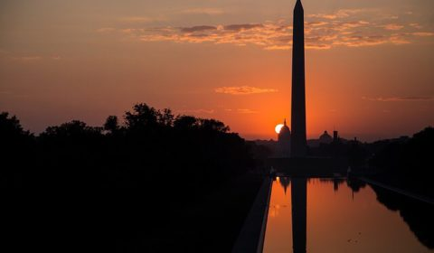 Washington monument at sunset in DC